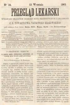 Przegląd Lekarski : wydawany staraniem Oddziału Nauk Przyrodniczych i Lekarskich C. K. Towarzystwa Naukowego Krakowskiego. 1862, nr24