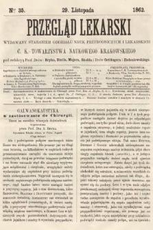 Przegląd Lekarski : wydawany staraniem Oddziału Nauk Przyrodniczych i Lekarskich C. K. Towarzystwa Naukowego Krakowskiego. 1862, nr35