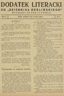 """Dodatek Literacki do """"Dziennika Berlińskiego"""". 1922, nr5"""