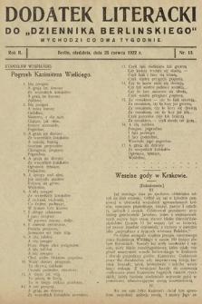 """Dodatek Literacki do """"Dziennika Berlińskiego"""". 1922, nr13"""