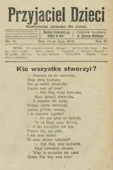 Przyjaciel Dzieci : ilustrowane pisemko dla dzieci : dodatek bezpłatny do Dziennika Berlińskiego. 1914, nr14