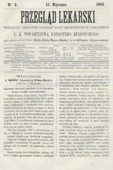 Przegląd Lekarski : wydawany staraniem Oddziału Nauk Przyrodniczych i Lekarskich C. K. Towarzystwa Naukowego Krakowskiego. 1863, nr3