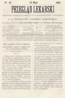 Przegląd Lekarski : wydawany staraniem Oddziału Nauk Przyrodniczych i Lekarskich C. K. Towarzystwa Naukowego Krakowskiego. 1863, nr20