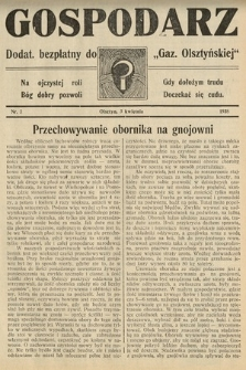 """Gospodarz : dodatek bezpłatny do """"Gazety Olsztyńskiej"""". 1938, nr7"""