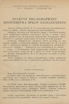 Biuletyn Bibljograficzny Ministerstwa Spraw Zagranicznych. 1930