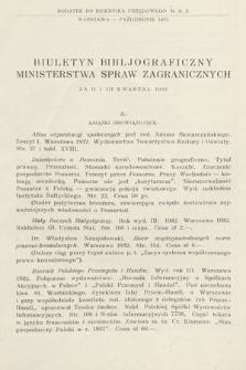 Biuletyn Bibljograficzny Ministerstwa Spraw Zagranicznych : za II i III kwartał 1932