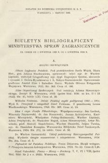Biuletyn Bibljograficzny Ministerstwa Spraw Zagranicznych : za okres od 1 kwietnia 1933 r. do 1 kwietnia 1934 r.