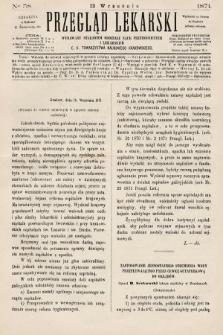 Przegląd Lekarski : wydawany staraniem Oddziału Nauk Przyrodniczych i Lekarskich C. K. Towarzystwa Naukowego Krakowskiego. 1871, nr38