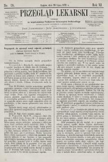 Przegląd Lekarski : wydawany ze współudziałem Profesorów Uniwersytetu krakowskiego tudzież Lekarzy szpitalnych i praktycznych. 1872, nr29