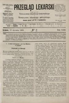 Przegląd Lekarski : organ Towarzystwa lekarskiego krakowskiego i Towarzystwa lekarskiego galicyjskiego. 1883, nr2