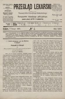 Przegląd Lekarski : organ Towarzystwa lekarskiego krakowskiego i Towarzystwa lekarskiego galicyjskiego. 1883, nr5