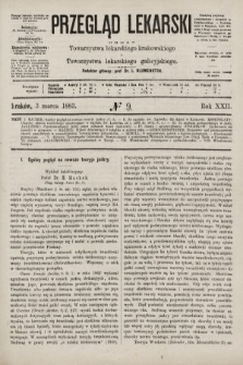 Przegląd Lekarski : organ Towarzystwa lekarskiego krakowskiego i Towarzystwa lekarskiego galicyjskiego. 1883, nr9