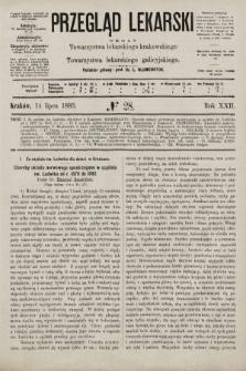 Przegląd Lekarski : organ Towarzystwa lekarskiego krakowskiego i Towarzystwa lekarskiego galicyjskiego. 1883, nr28