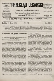 Przegląd Lekarski : organ Towarzystwa lekarskiego krakowskiego i Towarzystwa lekarskiego galicyjskiego. 1883, nr29