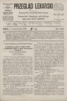 Przegląd Lekarski : organ Towarzystwa lekarskiego krakowskiego i Towarzystwa lekarskiego galicyjskiego. 1883, nr43