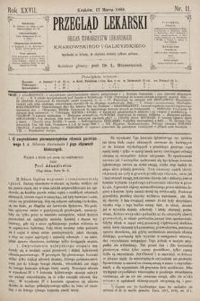 Przegląd Lekarski : Organ Towarzystw Lekarskich Krakowskiego i Galicyjskiego. 1888, nr11