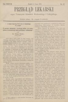 Przegląd Lekarski : organ Towarzystw lekarskich: Krakowskiego i Galicyjskiego. 1898, nr27