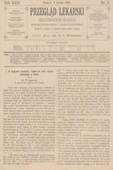 Przegląd Lekarski : organ Towarzystw Lekarskich Krakowskiego i Galicyjskiego. 1892, nr6