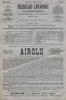 Przegląd Lekarski : organ Towarzystw Lekarskich: Krakowskiego i Galicyjskiego. 1896, nr46