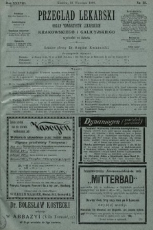 Przegląd Lekarski : organ Towarzystw Lekarskich Krakowskiego i Galicyjskiego. 1899, nr38
