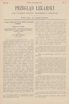 Przegląd Lekarski : organ Towarzystw Lekarskich Krakowskiego, Lwowskiego i Galicyjskiego. 1901, nr7