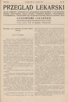 Przegląd Lekarski oraz Czasopismo Lekarskie. 1913, nr38