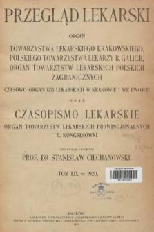 Przegląd Lekarski oraz Czasopismo Lekarskie. 1920 [całość]