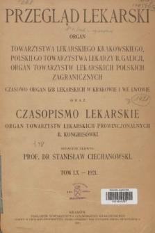 Przegląd Lekarski oraz Czasopismo Lekarskie. 1921 [całość]