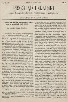 Przegląd Lekarski : organ Towarzystw lekarskich: Krakowskiego i Galicyjskiego. 1900, nr5