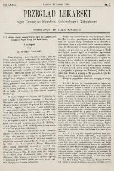 Przegląd Lekarski : organ Towarzystw lekarskich: Krakowskiego i Galicyjskiego. 1900, nr7
