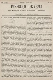 Przegląd Lekarski : organ Towarzystw lekarskich: Krakowskiego i Galicyjskiego. 1900, nr11