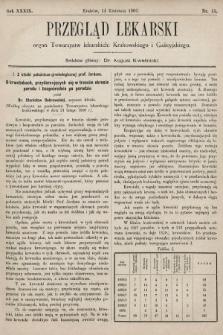 Przegląd Lekarski : organ Towarzystw lekarskich: Krakowskiego i Galicyjskiego. 1900, nr15