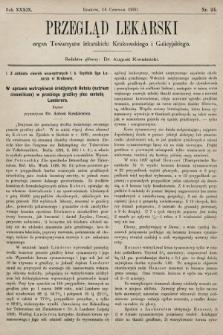 Przegląd Lekarski : organ Towarzystw lekarskich: Krakowskiego i Galicyjskiego. 1900, nr24