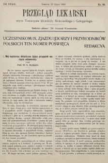 Przegląd Lekarski : organ Towarzystw lekarskich: Krakowskiego i Galicyjskiego. 1900, nr29