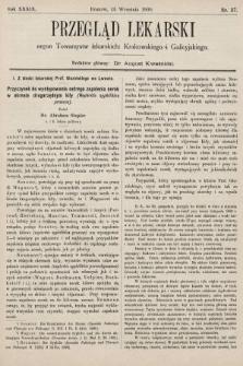 Przegląd Lekarski : organ Towarzystw lekarskich: Krakowskiego i Galicyjskiego. 1900, nr37