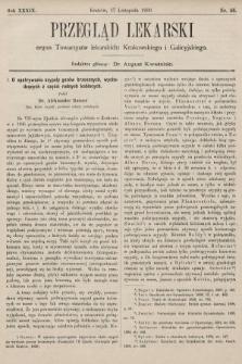 Przegląd Lekarski : organ Towarzystw lekarskich: Krakowskiego i Galicyjskiego. 1900, nr46