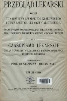 Przegląd Lekarski oraz Czasopismo Lekarskie. 1914, spis rzeczy
