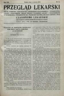 Przegląd Lekarski oraz Czasopismo Lekarskie. 1914, nr14