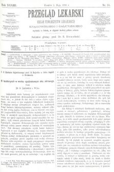 Przegląd Lekarski : organ Towarzystw Lekarskich Krakowskiego i Galicyjskiego. 1894, nr18