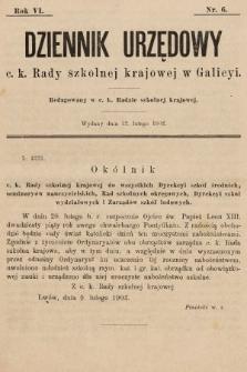 Dziennik Urzędowy c. k. Rady szkolnej krajowej w Galicyi. 1902, nr6