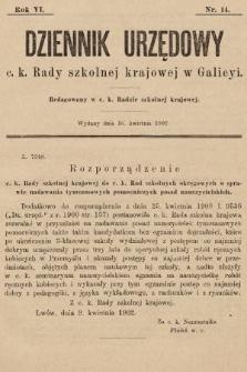 Dziennik Urzędowy c. k. Rady szkolnej krajowej w Galicyi. 1902, nr14