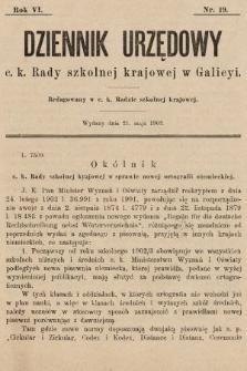 Dziennik Urzędowy c. k. Rady szkolnej krajowej w Galicyi. 1902, nr19
