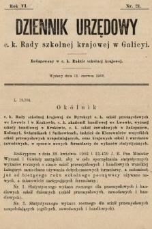 Dziennik Urzędowy c. k. Rady szkolnej krajowej w Galicyi. 1902, nr21