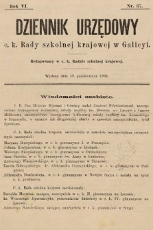 Dziennik Urzędowy c. k. Rady szkolnej krajowej w Galicyi. 1902, nr37
