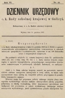Dziennik Urzędowy c. k. Rady szkolnej krajowej w Galicyi. 1902, nr44