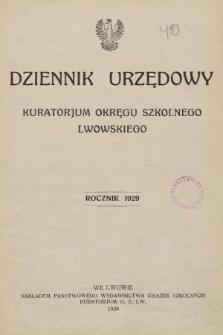 Dziennik Urzędowy Kuratorjum Okręgu Szkolnego Lwowskiego. 1929, indeks