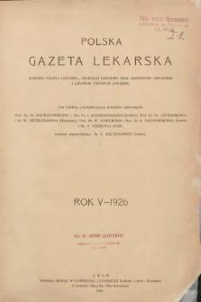 Polska Gazeta Lekarska : dawniej Gazeta Lekarska, Przegląd Lekarski oraz Czasopismo Lekarskie i Lwowski Tygodnik Lekarski. 1926 [całość]