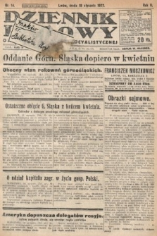 Dziennik Ludowy : organ Polskiej Partyi Socyalistycznej. 1922, nr14