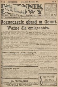 Dziennik Ludowy : organ Polskiej Partyi Socyalistycznej. 1922, nr82