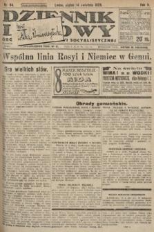 Dziennik Ludowy : organ Polskiej Partyi Socyalistycznej. 1922, nr84